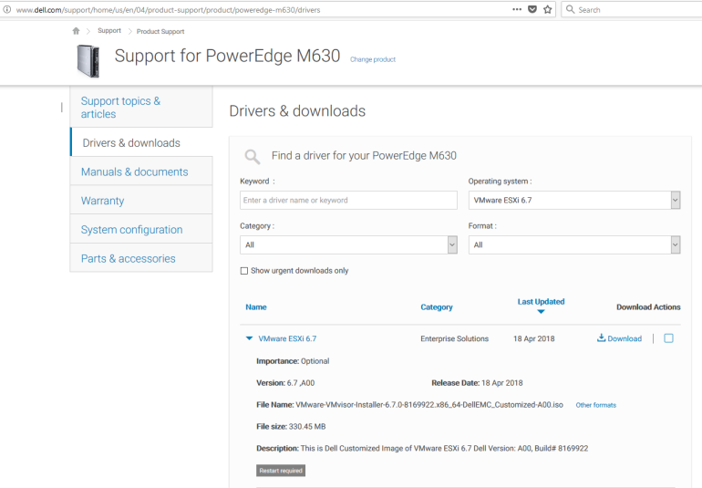 The Dell Emc Customized Iso Image Of Vmware Esxi 6 7 Is